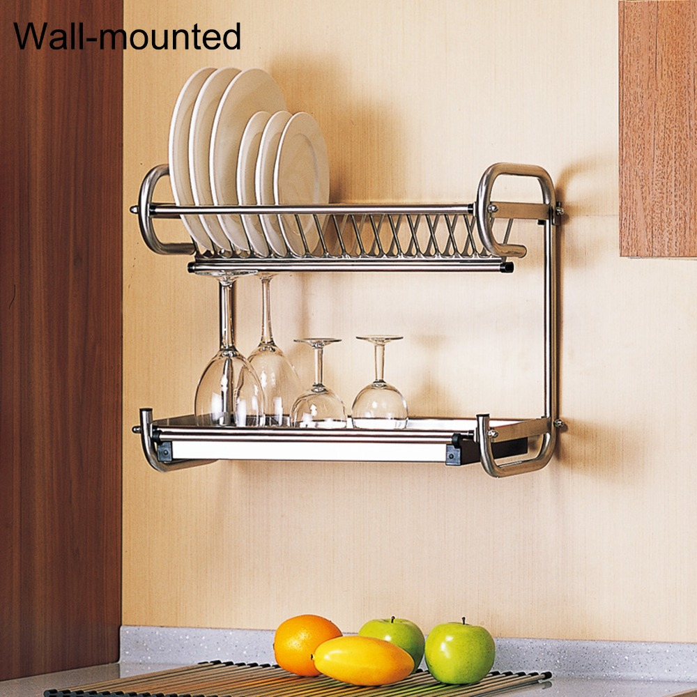 Probrico 304 Stainless Steel Width 590mm Kitchen Dish Drying Rack 2 Tier Plate Storage Shelf Holder Wall/Floor Mounted DRA0460CA-in Storage Holders u0026 Racks ... & Probrico 304 Stainless Steel Width 590mm Kitchen Dish Drying Rack 2 ...