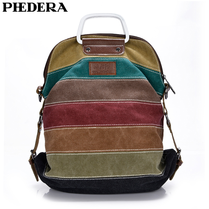 PHEDERA New Multifunctional Canvas Women Shoulder Bag Leisure Striped Female Backpack Patchwork Travel Bags