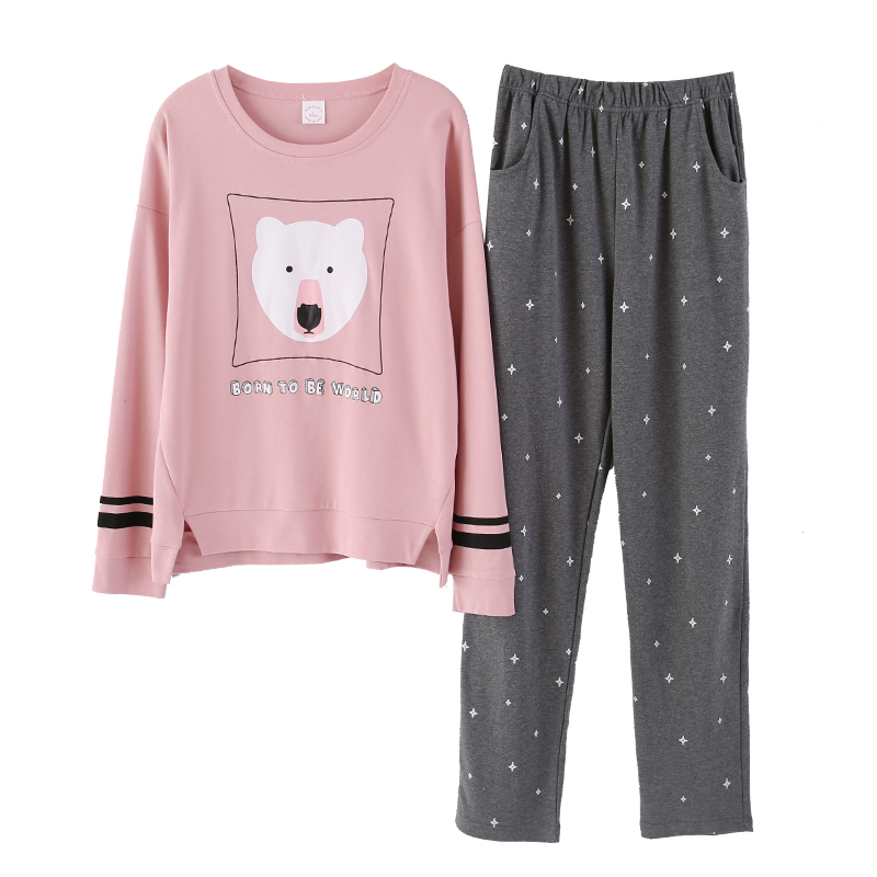 Image 5 - Autumn Winter Women Pyjamas Cotton Clothing Long Tops Set Female Pyjamas Sets Night Suit Sleepwear Women Home Clothes Ladies Set-in Pajama Sets from Underwear & Sleepwears