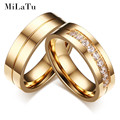 MiLaTu Fashion Wedding Bands For Couples Gold Plated Stainless Steel CZ Stone Wedding Engagement Rings For Women Men R3233G