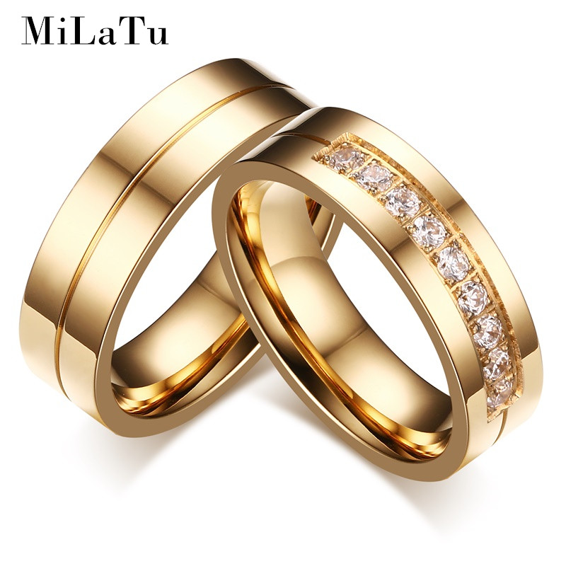 milatu fashion wedding bands for couples gold color