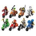 8 pçs/lote Pirata E Ninja Moto Rider Enigma Blocos de Construção Para Crianças Montados Brinquedos Presentes