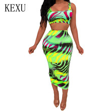KEXU Plus Size XXL Tie Dyed Printed Two Pieces Sets Slim Dress Summer Bodycon Bandage Sleeveless Hollow Out for Women