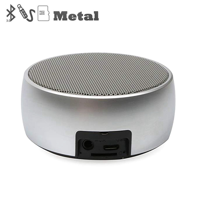 Metal Bluetooth Speaker Outdoor Round Sport Super Bass Music Player MP3 Box with Hands Free Call Support TF Card Mini Speaker
