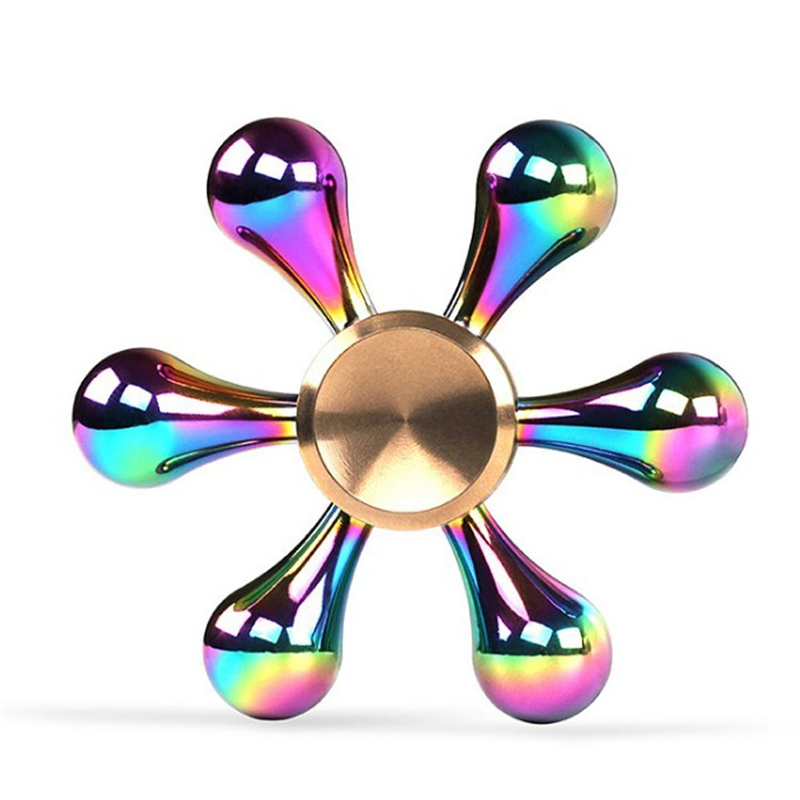 Rainbow Hand Finger Fidget Spinner Fun Hand Game Desk Focus Toys Anxiety Stress Spinning Top Metal EDC Tri-Spinner Toy for Kids pudcoco metal boys girls rainbow fidget hand finger spinner focus edc bearing stress toys kids adults
