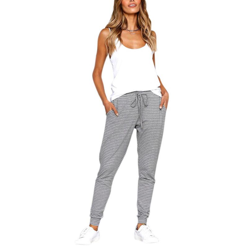 Elastic Waist Stripe Pant Summer Spring Female Casual Trousers 2018 Fashion Women Leisure Strappy Pants 2018 New