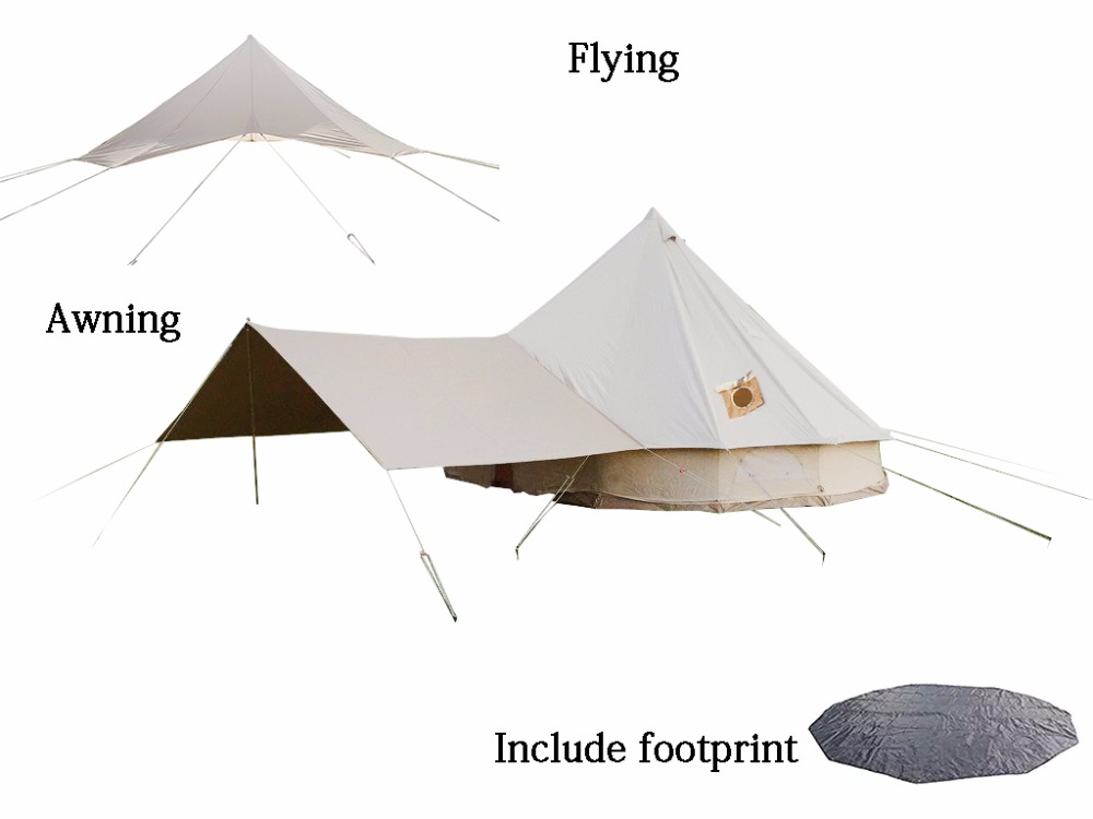 DANCHEL High-profile Cotton bell <font><b>tent</b></font> size 4m 5m with flying, front awning, Anti dirty and Two stove jacket