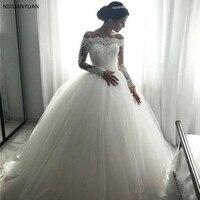 Elegant Off Shoulder Long Sleeves Ball Gown Wedding Dresses Boat Neck Appliques Tulle Floor Length 2019 Bridal Dresses