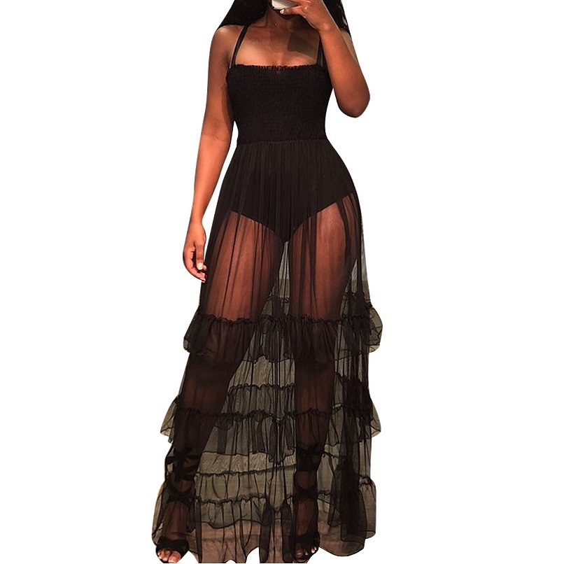 Black Lace Summer Dress Perspective Mesh Ruffles Strap Summer Style Dress Women Lady Fashion Casual Bandage Long Maxi Dresses
