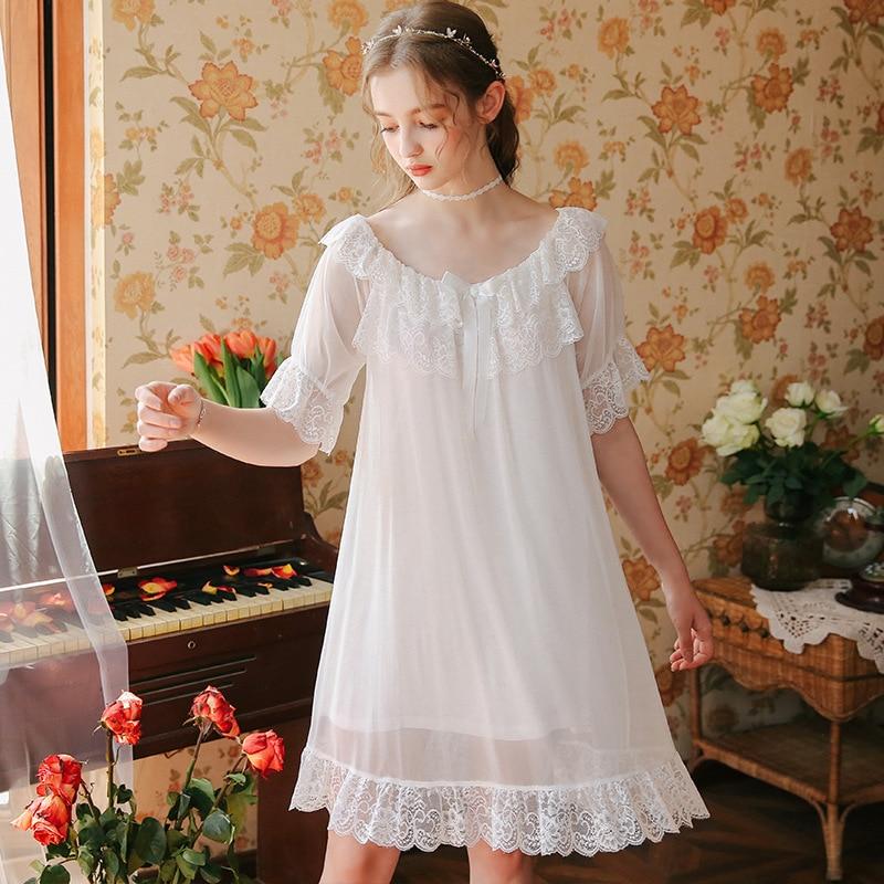 2019 élégante chemise de nuit lune de miel d'été vêtements de nuit sexy vêtements de nuit femme Vintage chemise de nuit dentelle nuisette Lingerie robe Costumes