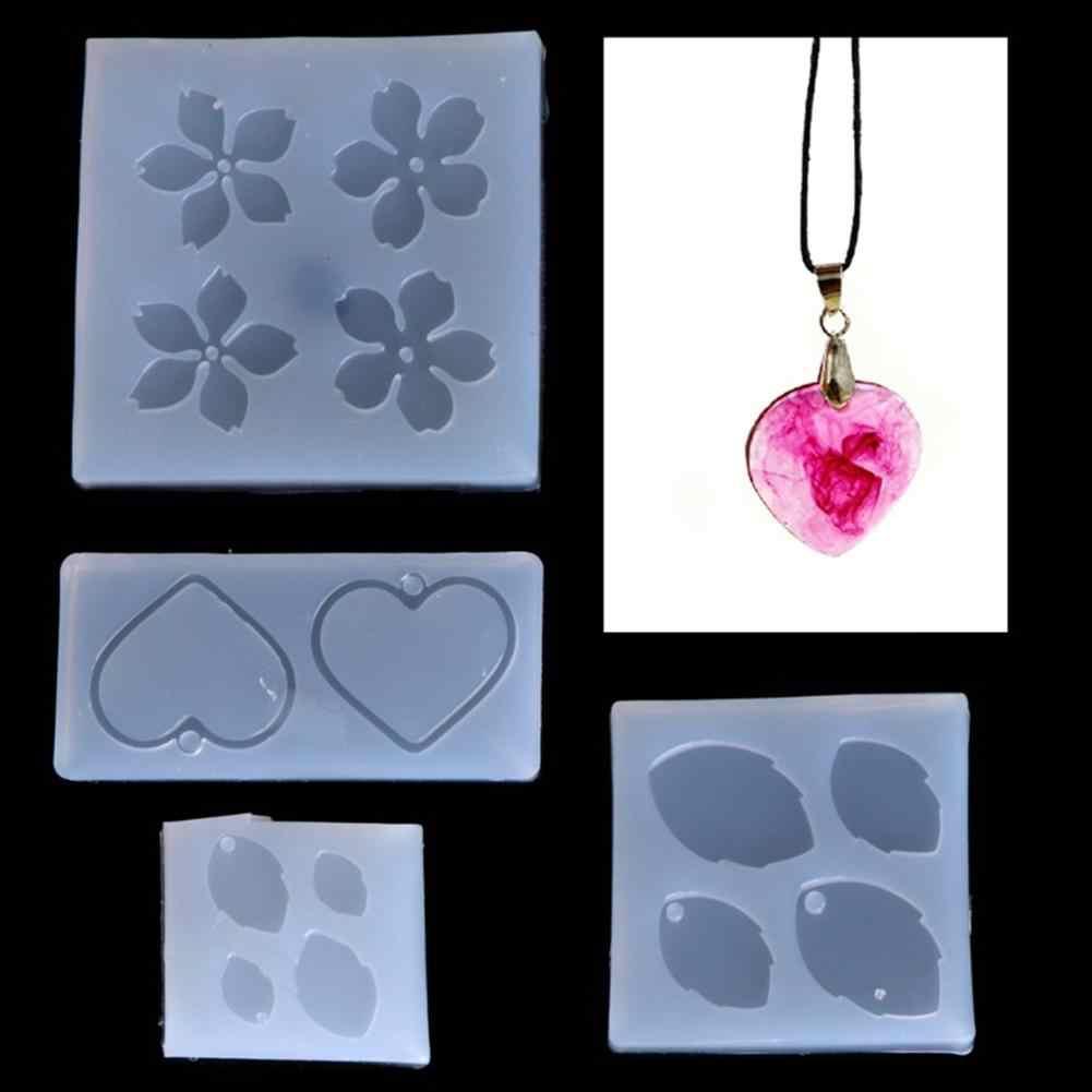 Molde para joyería flor hojas forma de corazón herramienta para hacer colgantes de Resina de silicona