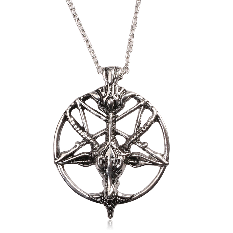 RJ Fashion Vintage Satan Goat Head Pentagram Necklaces Retro Skull Gods Pan Sheepshead Necklace Men Best Gift Choker