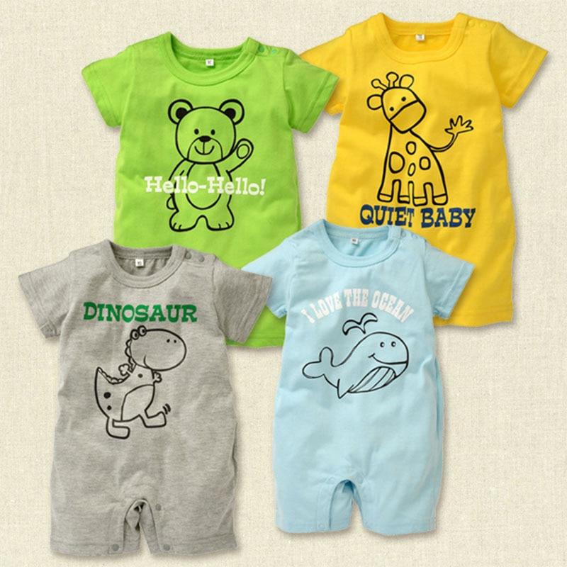 100% bomuld kortærmet baby rompers sød tegneserie mønster mode baby dreng pige tøj småbarn dreng jumpsuits Bebe Roupas HB063
