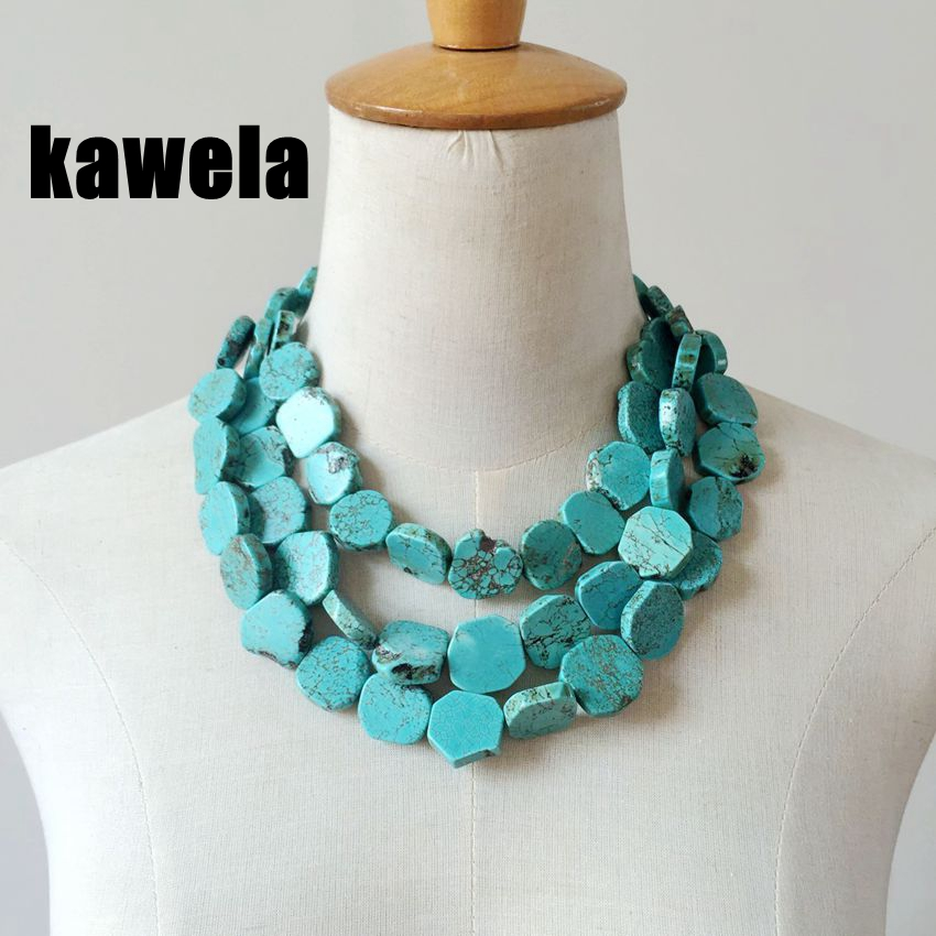 Free Shipping Wholesale Three Strands Turquoise Small Stone Layered Necklace Collar Fashion Necklace