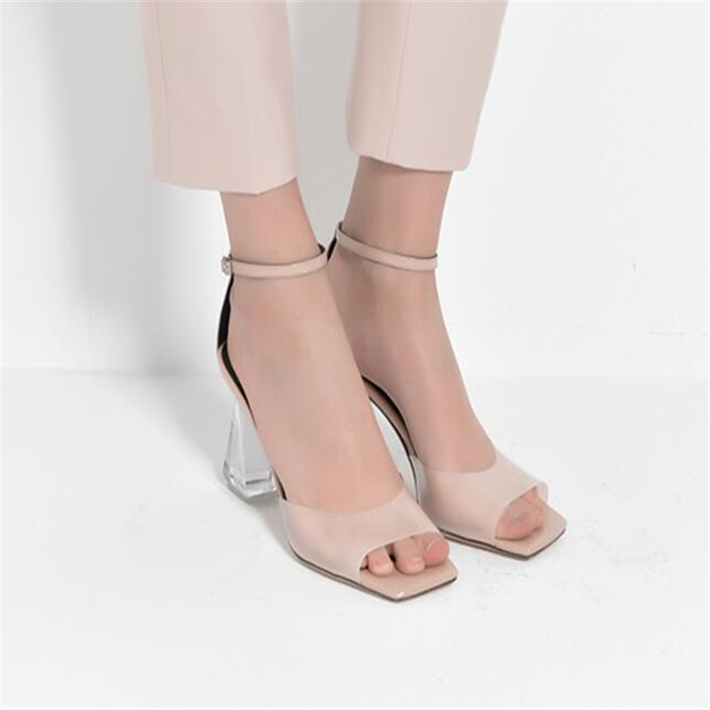 680d017160b Kim Kardashian Sexy Perspex Heels Buckle Strap Clear Sandals Transparent  Party Shoes Dress Heels PVC Sandals Zapato Mujer-in Women s Pumps from Shoes  on ...