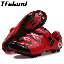 Tfsland Professional Athletic Bicycle Sports Sneakers Cycling MTB Shoes Mountain Bike Shoes Unisex Self-Locking Walking Shoes