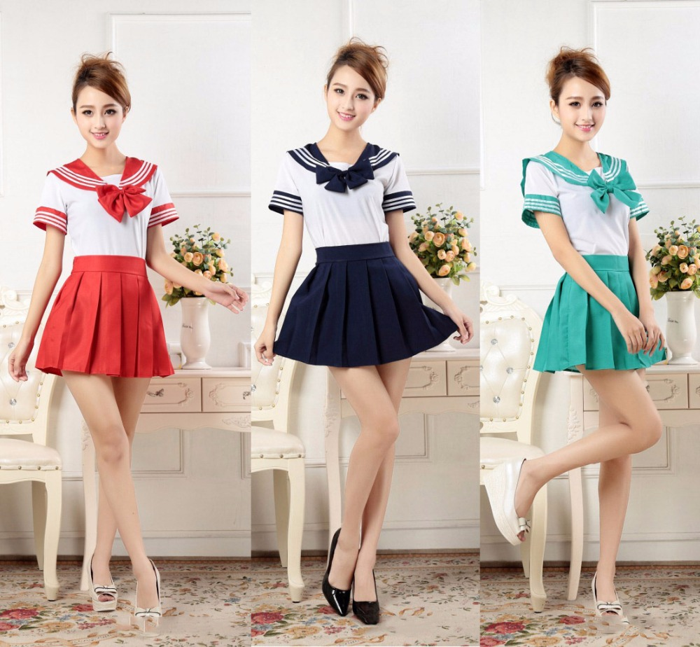 Preppy Style <font><b>Japanese</b></font> Girls Sailor Suits <font><b>Sexy</b></font> Female Cosplay <font><b>School</b></font> Skirts <font><b>Uniforms</b></font> Pleated skirt Cheerleader Suits Costume image