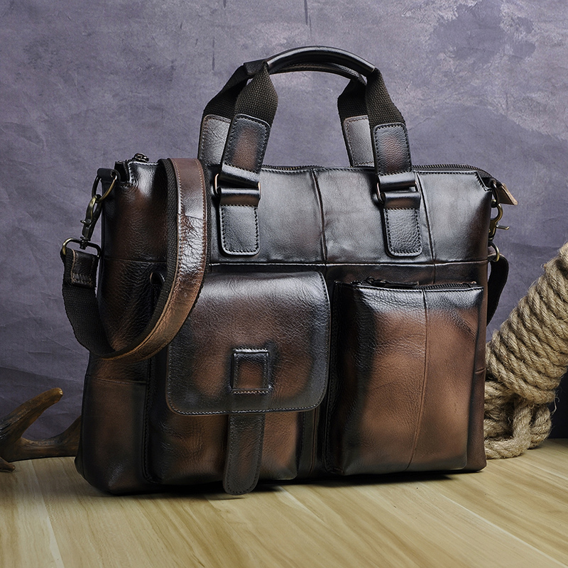 "HTB1AFoiX5nrK1Rjy1Xcq6yeDVXac Men Genuine Leather Office Maletas Business Briefcase 15.6"" Laptop Case Attache Portfolio Bag Maletin Messenger Bag B260"
