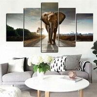 5 Панель печати Африке слон абстрактный пейзаж маслом на холсте животных Плакат Модульная стены картину для гостиной