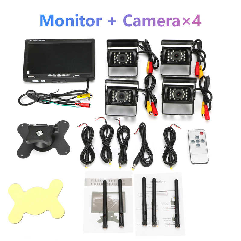 """Jansite 7 """"Wireless monitor Dell'automobile TFT Due Auto Posteriore del Monitor telecamere di Sistema di Parcheggio di Rearview per Inversione di Sostegno Della Macchina Fotografica di sostegno camion"""