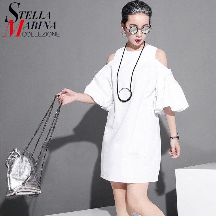 2017 estilo coreano de verano de algodón mujeres sun dress manga farol hombro ca
