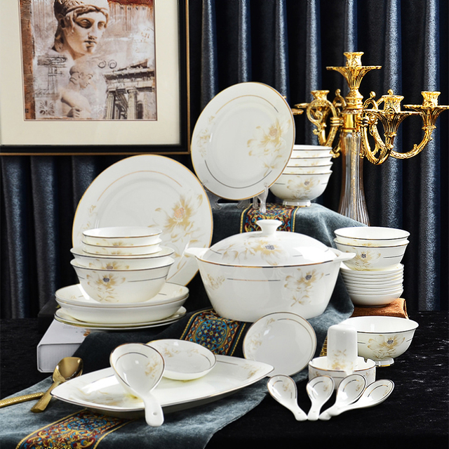 56 Stück Set Fine Bone China Geschirr Sets Porzellan Bento Party