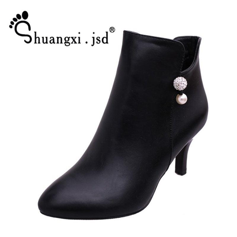 Shuangxi.jsd 2018 Winter New Shoes Women Ankle Boots Brand Luxury Designer Korean Fashion Boots Ladies High Heels Red Booties