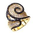 Designer anel banhado a ouro Cubic zirconia anéis CZ preto e branco melhor amigo jóias