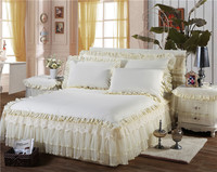 100 Cotton Lace Bedding Set 8 Colors Bed Skirt Bedspreads Mattress Protective Cover Anti Slip Bed