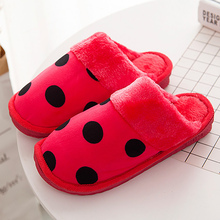 Womans winter slippers Polka Dot Fur Slippers Short Plush Suede Warm Home