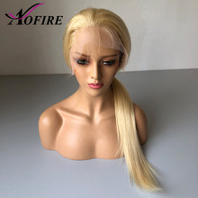 Lace Front Human Hair Wigs Blonde 613 Indian Virgin Human Hair Wig With Baby Hair Bleached Knots Pre Plucked Hairline Free Part(China)