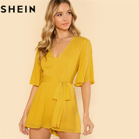 SHEIN Women Yellow V Neck Casual Half Flounce Sleeve Wide Leg Rompers Summer New Vacation Mid
