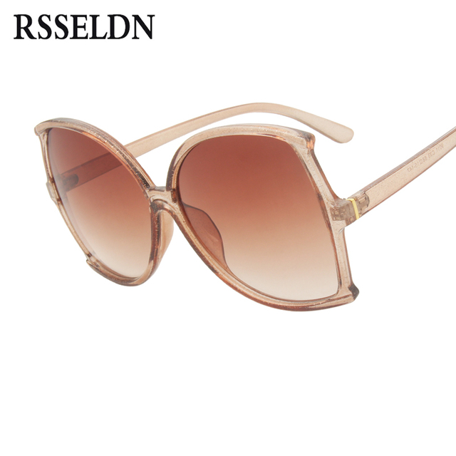 d78b65a054 RSSELDN Oversize Butterfly Sunglasses Women Brand Designer Fashion Brown  Pink Big Frame Sun glasses Female Gradient