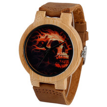 Burning Skull Dial Wood Watches