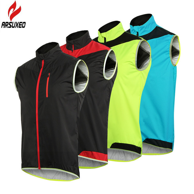ARSUXEO Men Women Cycling Vest Windproof Waterproof Running Vest MTB Bike Bicycle Reflective Clothing Sleeveless Cycling Jacket