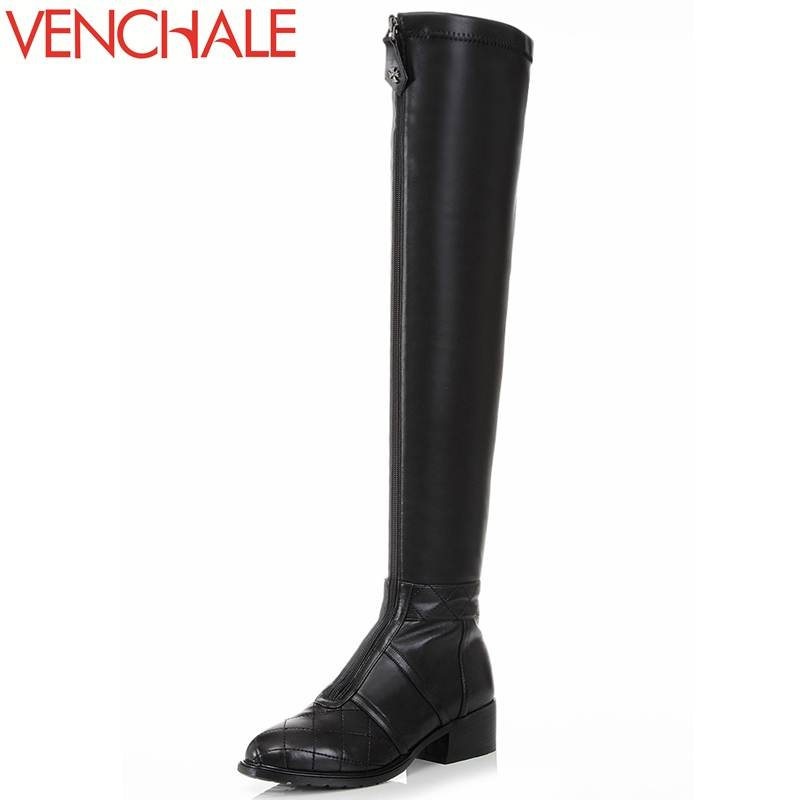 VENCHALE 2017 over-the-knee high boots special front zipper genuine leather round toe lengthen the leg line modern women boots chris van gorder the front line leader