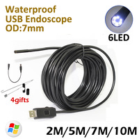 7mm 10M Endoscop USB Camera 7M 5M 2M HD720P IP67 Waterproof Inspection Flexible Snake USB Tube