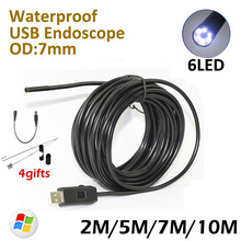 7mm Lens 10M Endoscope USB Camera 7M 5M 2M  IP67 Waterproof inspection Flexible Snake USB Tube Pipe Borescope Camera 6LED