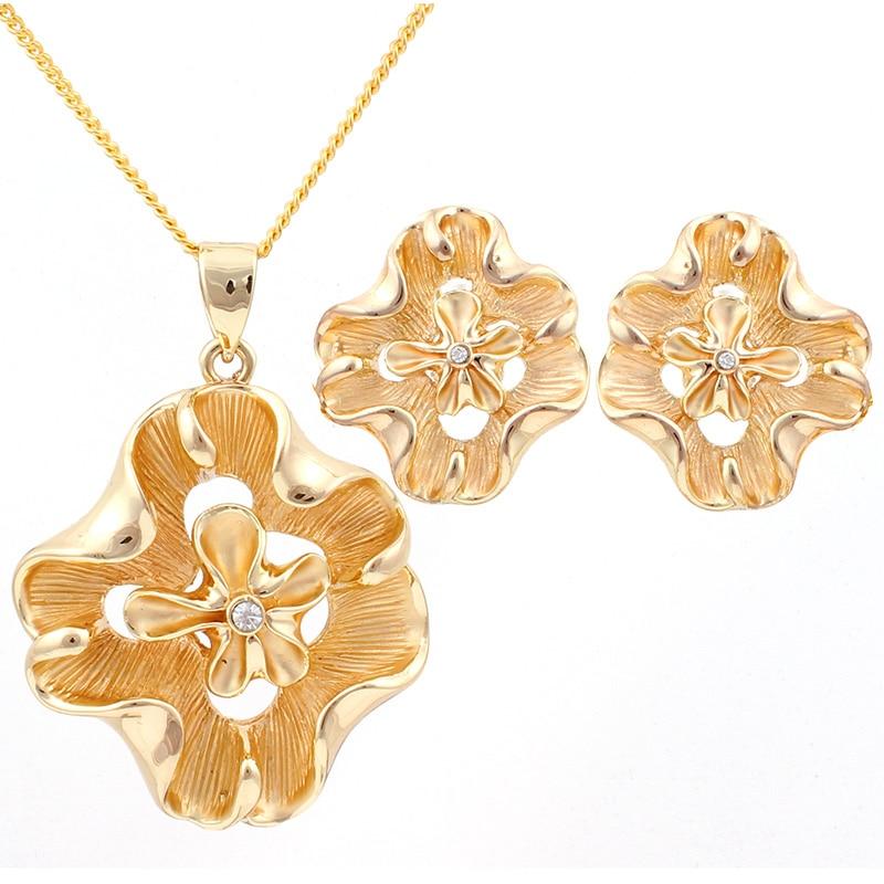 Imitación de Joyas de Oro Collar de Flores Colgante y Trozo Conjunto Errings Joy