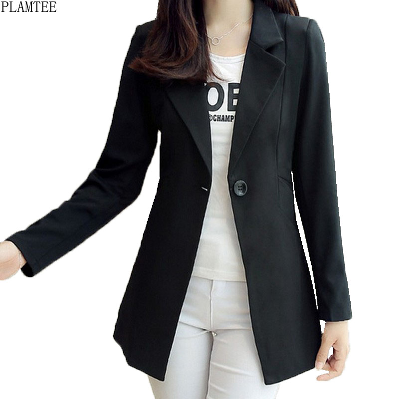 Elegnant Notched New Spring Red Blazer for Women Clothing Slim Fit Solid Jaqueta Feminina Single Button