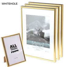 3Pcs/Set Picture Frame Metal Certificate Photo Frame 10x15 15X20cm A4 21x30cm Pleixglass Inside Golden Black Silver Poster Frame(China)