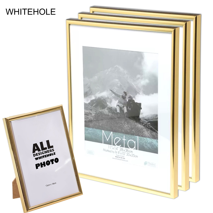 3Pcs/Set Picture Frame Metal Certificate Photo Frame 10x15 15X20cm A4 21x30cm Pleixglass Inside Golden Black Silver Poster Frame image