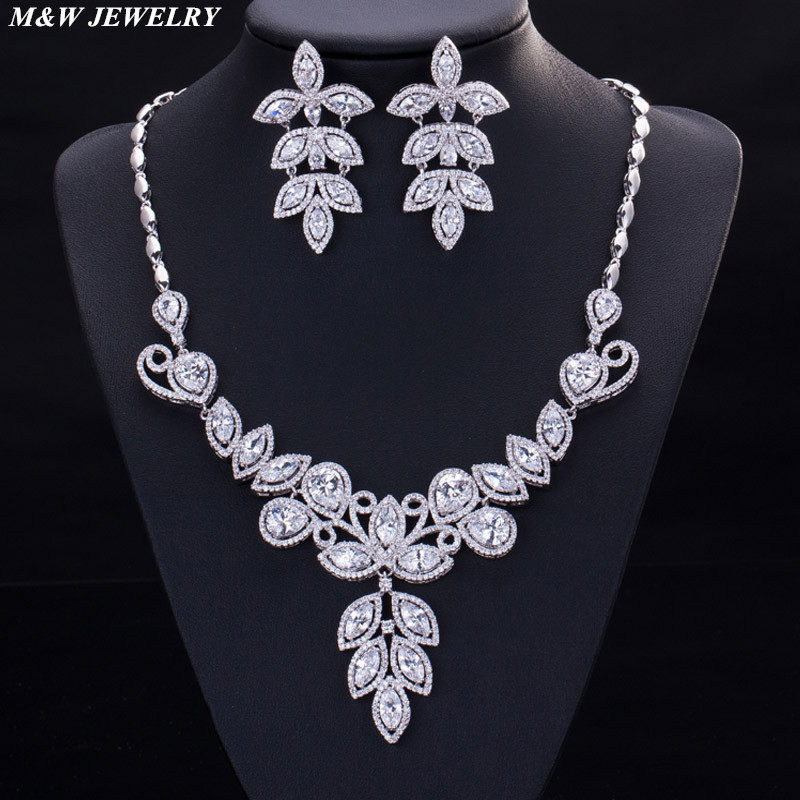 Здесь продается  M&W JEWELRY Top Zircon Jewelry Sets for Women Trendy Silver color Cubic Zircon Necklace Hoop Earrings Jewelry Sets Fashion Women  Ювелирные изделия и часы