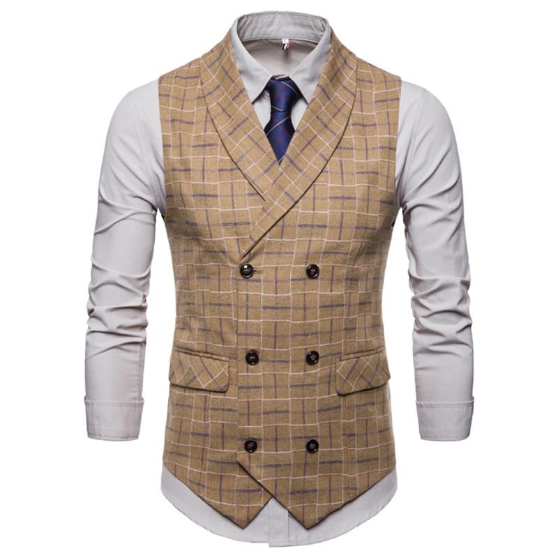 Suit vest autumn new men 39 s double breasted plaid suit vest S 4XL men 39 s self cultivation business casual large size suit vest in Vests from Men 39 s Clothing
