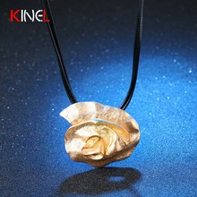 Fashion Calla Lily Charm Flower Necklaces & Pendants Black Wax Rope Boho Maxi Statement Necklace 18K Gold Plated Fine Jewelry