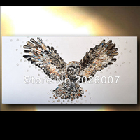 Hand Painted Palette Knife Great Horned Owl Abstract Oil Painting On CanvasModern Painting Decoration Fine Wall Decor Artwork