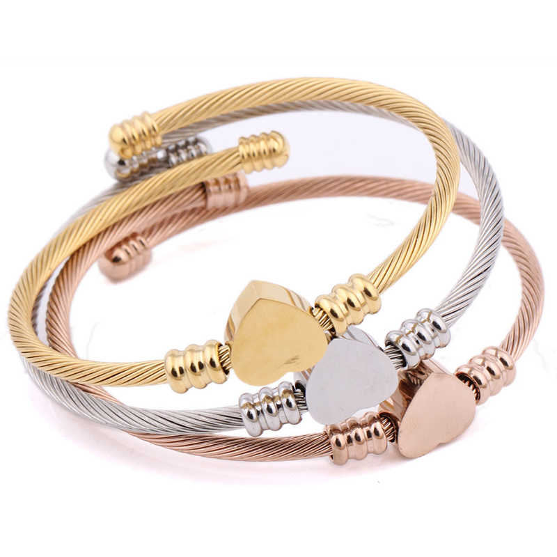 c808638cb72 ... SKQIR Fashion Gold/Silver/Rose Open Bangles Jewelry Women's Stainless  Steel Twisted Cable Wire ...