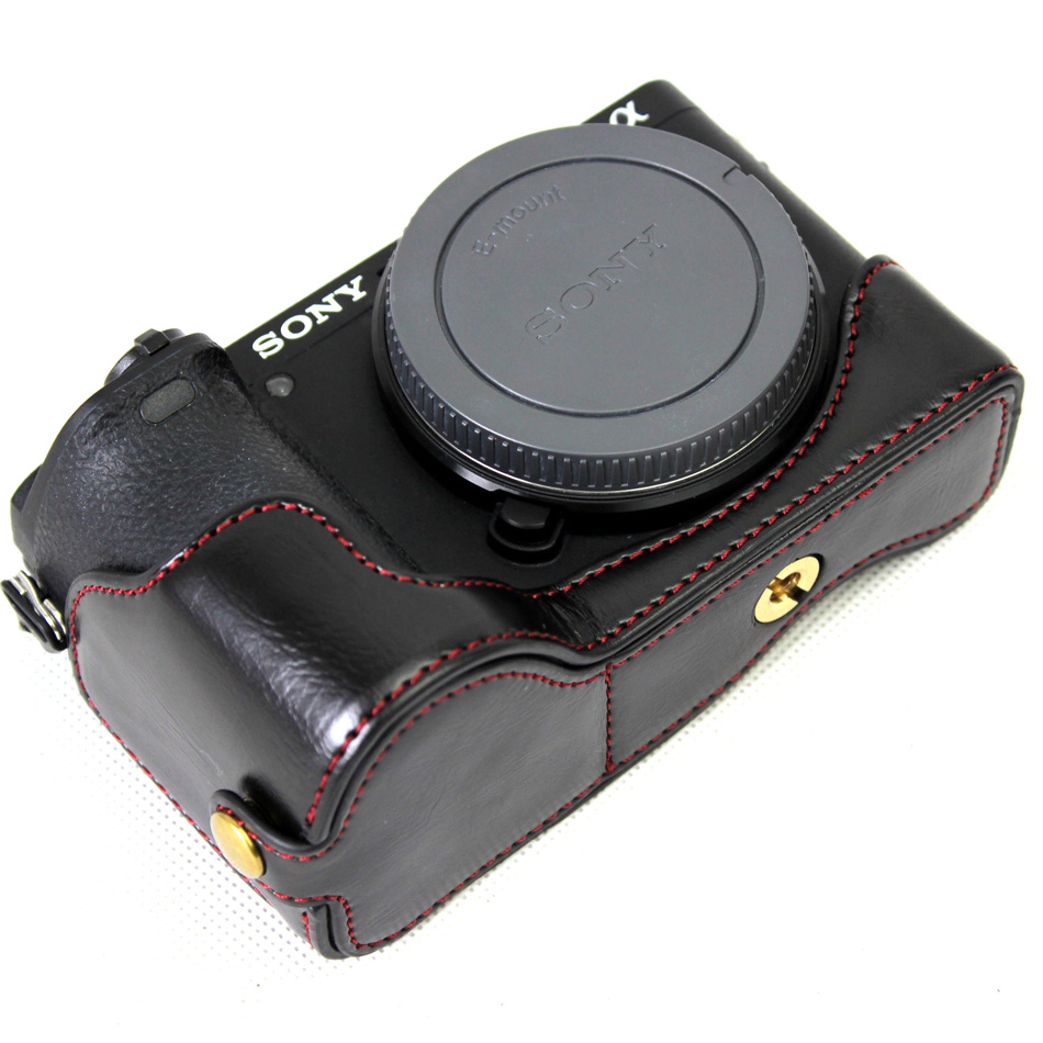 PU Leather Half Camera Bottom Case Cover For <font><b>Sony</b></font> <font><b>Alpha</b></font> A6500 ILCE-<font><b>6500</b></font> With Battery Opening Black/Coffee/Brown image