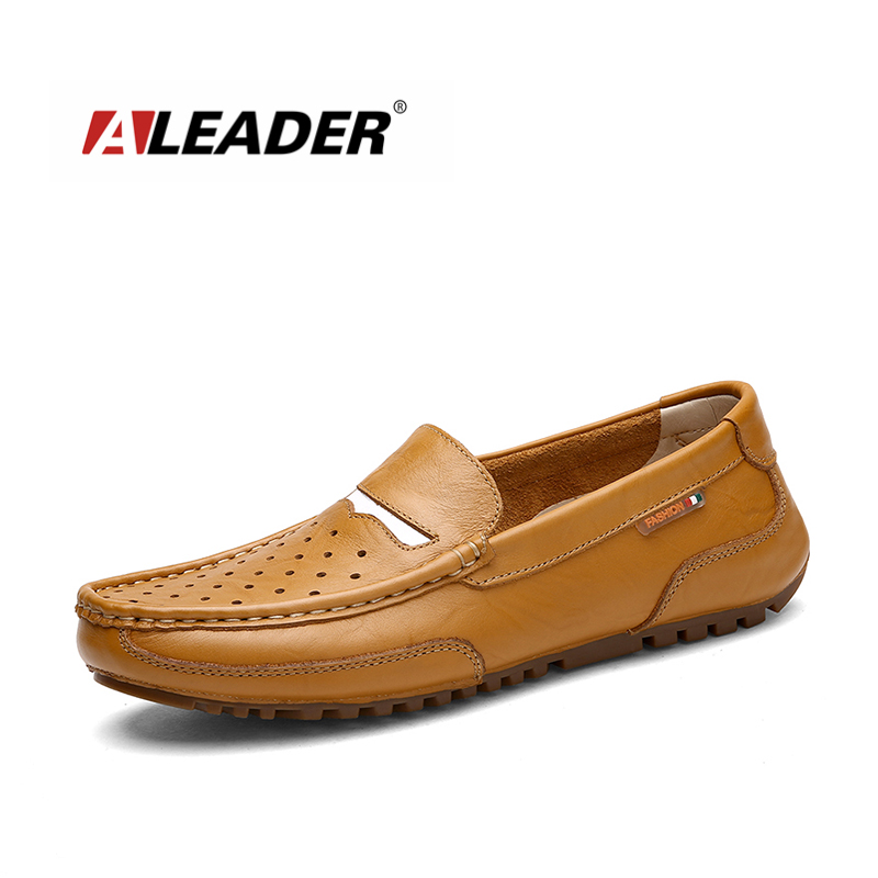 ALEADER 2017 Genuine Leather Handmade Shoes Men Casual Breathable Slip-on Loafers Fashion Men's Flats Cut-outs Moccasins shoes high end breathable men casual shoes loafers genuine leather lace up rubber handmade slip on sewing lazy shoes italian designer
