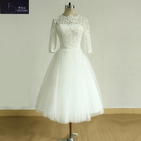 BRITNRY Ivory Simple Wedding Dress Lace Tops A Line Tulle Short Wedding Dress